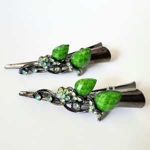 Accessories - Bright Green Jeweled Floral Hair Clips